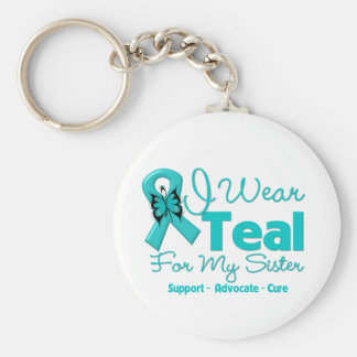I Wear Teal For My Sister Basic Round Button Keychain