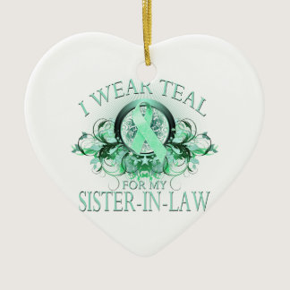 I Wear Teal for my Sister In Law (floral).png Ceramic Ornament