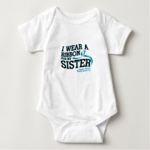I Wear Teal For My Sister Ovarian Cancer Awareness Baby Bodysuit