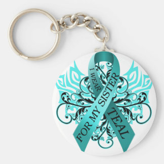 I Wear Teal for my Sister.png Keychain