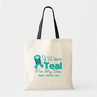 I Wear Teal For My Son Tote Bags