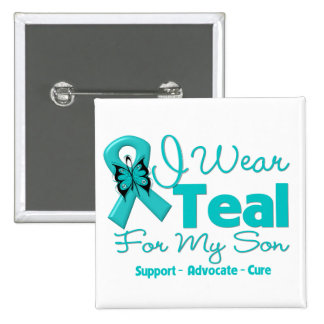 I Wear Teal For My Son 2 Inch Square Button