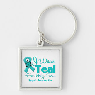 I Wear Teal For My Son Silver-Colored Square Keychain