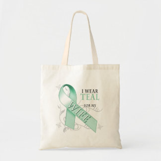 I Wear Teal for my Wife Canvas Bags
