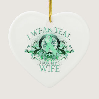 I Wear Teal for my Wife (floral).png Ceramic Ornament
