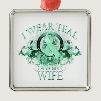 I Wear Teal for my Wife (floral).png Metal Ornament