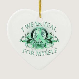 I Wear Teal for Myself (floral).png Ceramic Ornament