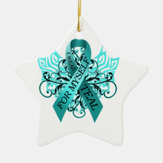 I Wear Teal for Myself.png Ceramic Ornament