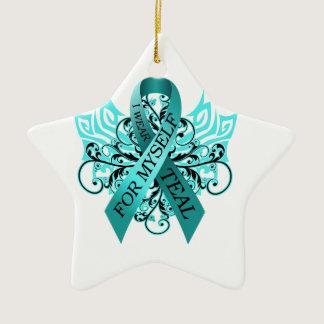 I Wear Teal for Myself.png Ceramic Ornament