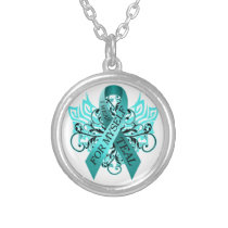 I Wear Teal for Myself.png Silver Plated Necklace