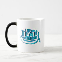 I Wear Teal For Ovarian Cancer Awareness Magic Mug