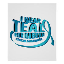 I Wear Teal For Ovarian Cancer Awareness Poster
