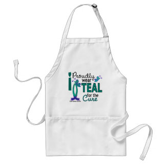 I Wear Teal For The Cure 27 Ovarian Cancer Adult Apron