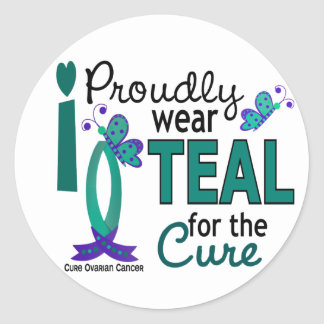 I Wear Teal For The Cure 27 Ovarian Cancer Round Sticker