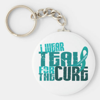 I Wear Teal For The Cure 6.4 Ovarian Cancer Keychain