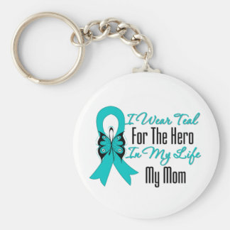 I Wear Teal For The Hero in My Life...My Mom Key Chains