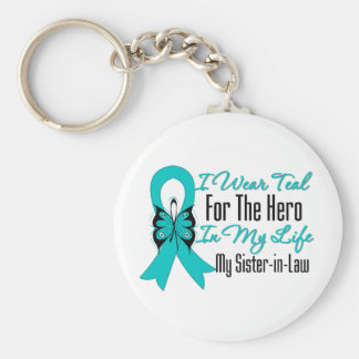 I Wear Teal For The Hero in My Life, Sister in Law Basic Round Button Keychain