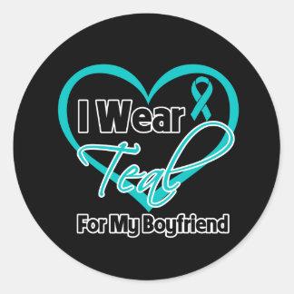 I Wear Teal Heart Ribbon For My Boyfriend Stickers