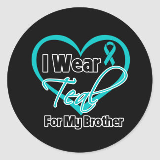 I Wear Teal Heart Ribbon For My Brother Sticker