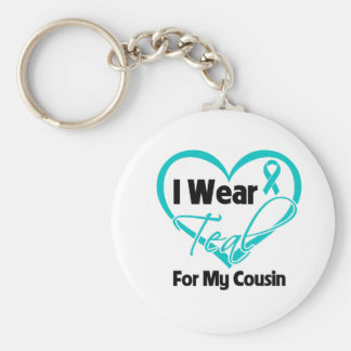 I Wear Teal Heart Ribbon For My Cousin Basic Round Button Keychain