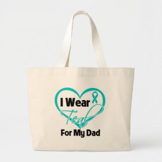 I Wear Teal Heart Ribbon For My Dad Bag
