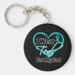 I Wear Teal Heart Ribbon For My Dad Basic Round Button Keychain