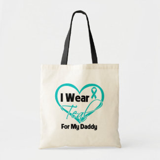 I Wear Teal Heart Ribbon For My Daddy Tote Bags