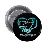 I Wear Teal Heart Ribbon For My Daughter Button