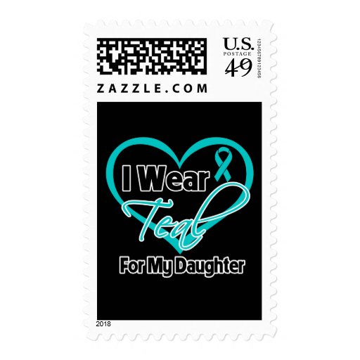 I Wear Teal Heart Ribbon For My Daughter Stamps