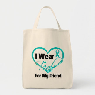 I Wear Teal Heart Ribbon For My Friend Bag