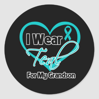 I Wear Teal Heart Ribbon For My Grandson Sticker