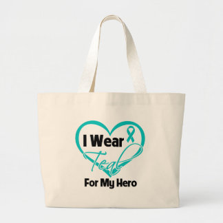 I Wear Teal Heart Ribbon For My Hero Canvas Bag