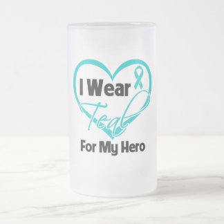I Wear Teal Heart Ribbon For My Hero 16 Oz Frosted Glass Beer Mug