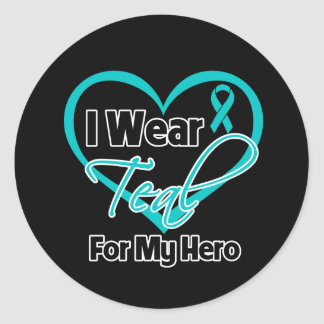 I Wear Teal Heart Ribbon For My Hero Sticker