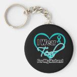 I Wear Teal Heart Ribbon For My Husband Basic Round Button Keychain