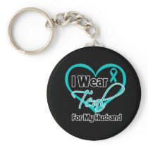 I Wear Teal Heart Ribbon For My Husband Basic Round Button Keychain