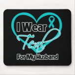 I Wear Teal Heart Ribbon For My Husband Mouse Pad