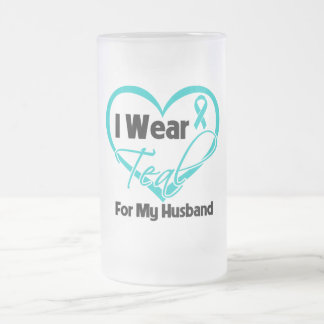 I Wear Teal Heart Ribbon For My Husband Mugs