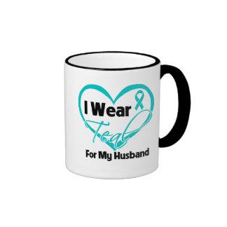 I Wear Teal Heart Ribbon For My Husband Coffee Mug