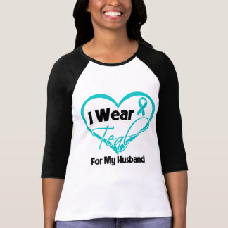 I Wear Teal Heart Ribbon For My Husband Tees