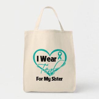I Wear Teal Heart Ribbon For My Sister Canvas Bags