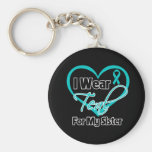 I Wear Teal Heart Ribbon For My Sister Basic Round Button Keychain