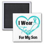 I Wear Teal Heart Ribbon For My Son 2 Inch Square Magnet