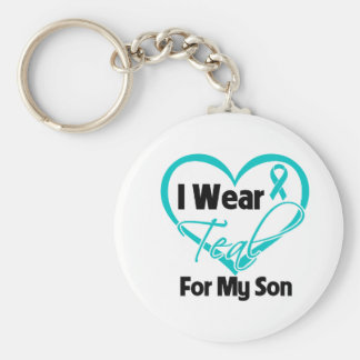 I Wear Teal Heart Ribbon For My Son Basic Round Button Keychain