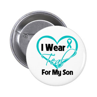 I Wear Teal Heart Ribbon For My Son 2 Inch Round Button