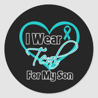 I Wear Teal Heart Ribbon For My Son Classic Round Sticker