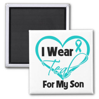 I Wear Teal Heart Ribbon For My Son Fridge Magnets