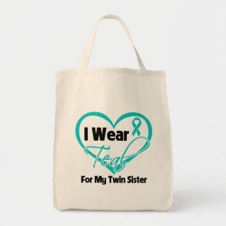 I Wear Teal Heart Ribbon For My Twin Sister Bags