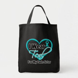 I Wear Teal Heart Ribbon For My Twin Sister Bag