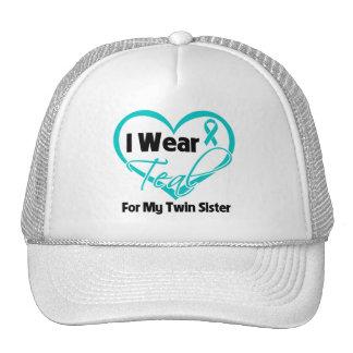 I Wear Teal Heart Ribbon For My Twin Sister Trucker Hats